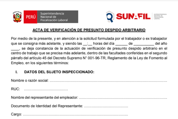 Formato de acta de verificación de despido arbitrario – SUNAFIL